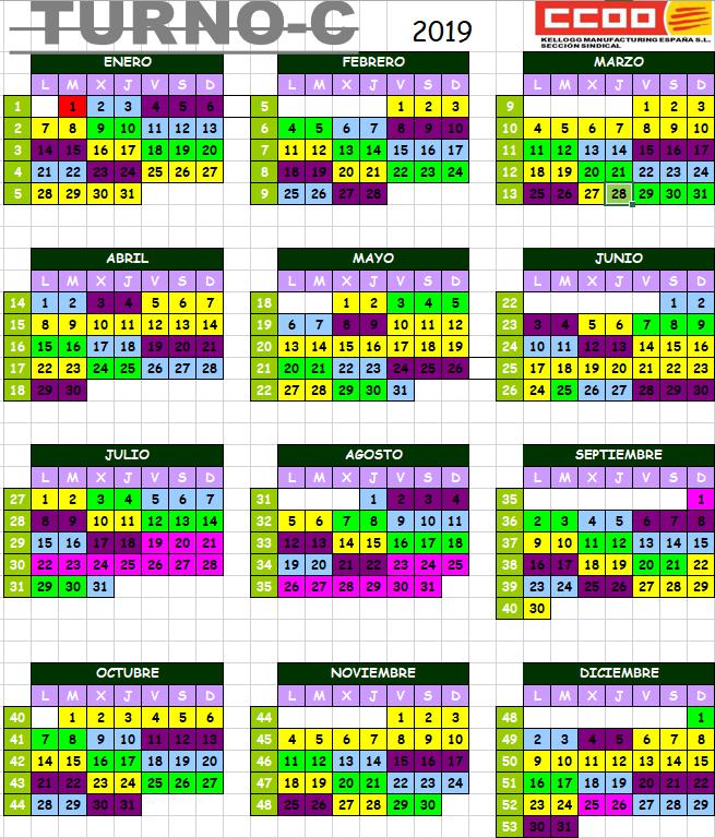 Calendario Turnos.Calendario 2019 Turno C Seccio Sindical De